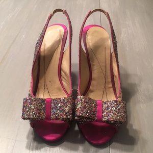 Women's kate Spade 'charm' glitter sling back pump